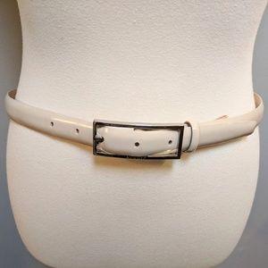 ANNE KLEIN Off White  Cream Patent Leather Belt